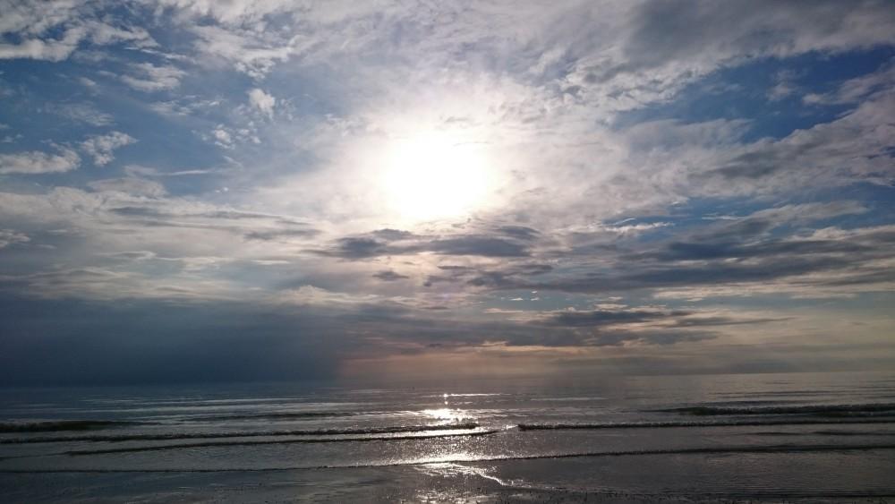 coucher de soleil sur la plage de Fort-Mahon