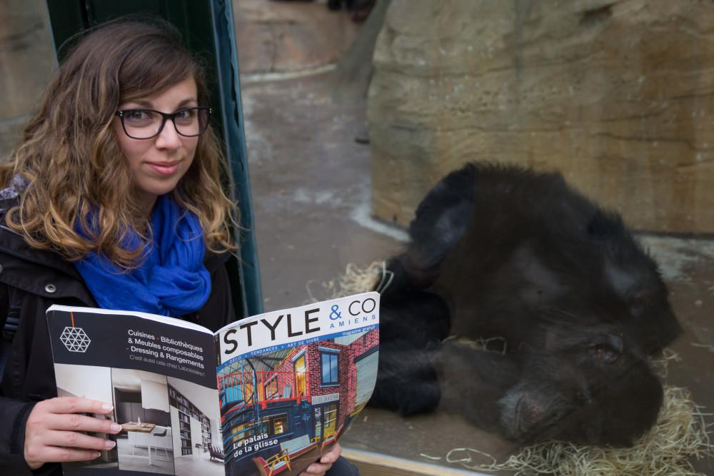 Petite lecture à 2 avant la sieste (au Zoo de Beauval)